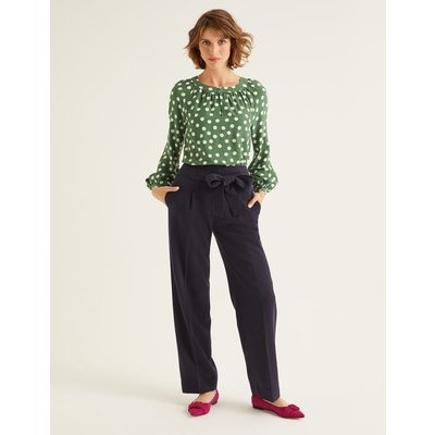 Ketton Wide Leg Trousers Navy Women Boden, Navy