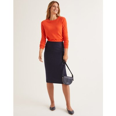 British Tweed Pencil Skirt Navy Women Boden, Navy