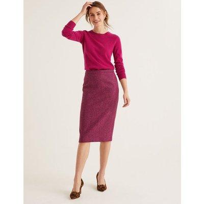British Tweed Pencil Skirt Purple Women Boden, Pink