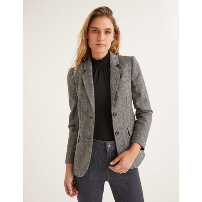 Smyth British Tweed Blazer Grey Women Boden, Black