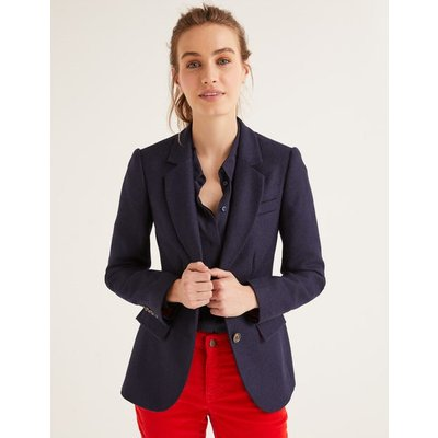 Smyth British Tweed Blazer Navy Women Boden, Navy