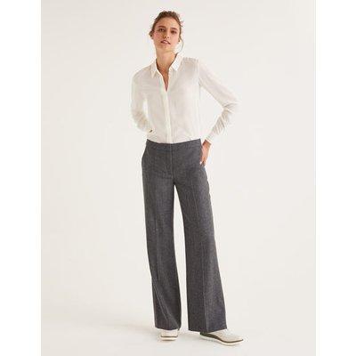 British Tweed Trousers Grey Women Boden, Grey