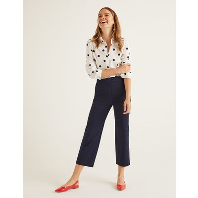 Brampton Cropped Trousers Navy Women Boden, Navy