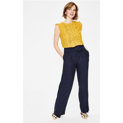 Carrick Wide Leg Trousers Navy Women Boden, Navy
