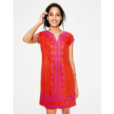 Bea Linen Embroidered Dress Red Women Boden, Red