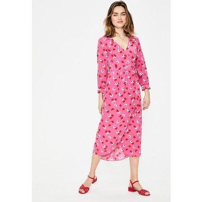 Floris Wrap Dress Pink Women Boden, Pink