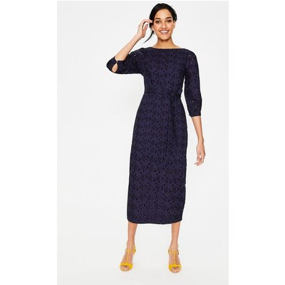 Claudette Broderie Midi Dress Navy Women Boden, Navy