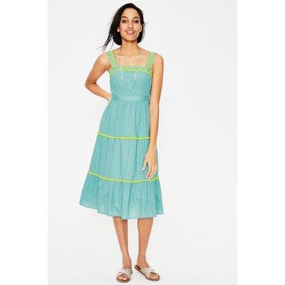 Estella Embroidered Midi Dress Heron Blue Women Boden, Heron Blue