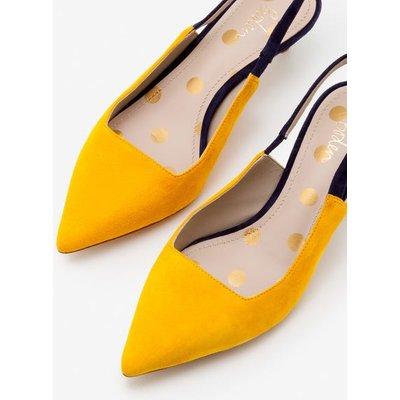 Florrie Kitten Heel Slingbacks Yellow Women Boden, Navy