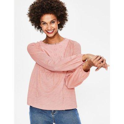 Cleo Broderie Jersey Top Pink Women Boden, Pink