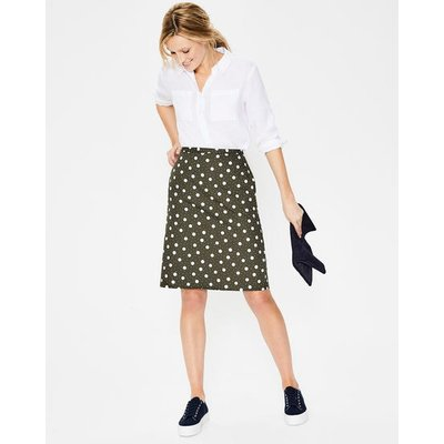 Printed Cotton A-line Skirt Khaki Women Boden, Khaki