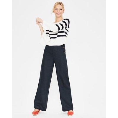 Penzance Linen Trousers Navy Women Boden, Navy
