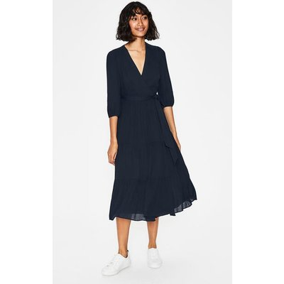 Aurora Midi Wrap Dress Navy Women Boden, Navy