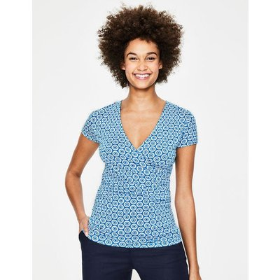 Short Sleeve Wrap Top Blue Women Boden, Blue