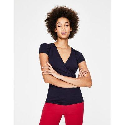Short Sleeve Wrap Top Navy Women Boden, Navy