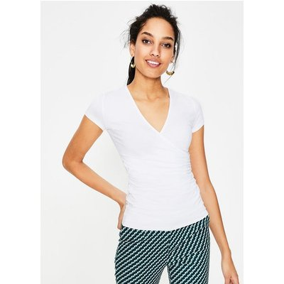Short Sleeve Wrap Top White Women Boden, White