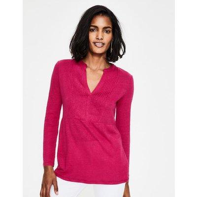Linen Pintuck Jersey Top Pink Women Boden, Pink