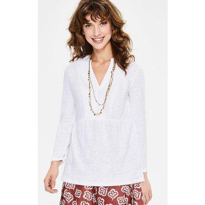 Linen Pintuck Jersey Top White Women Boden, White
