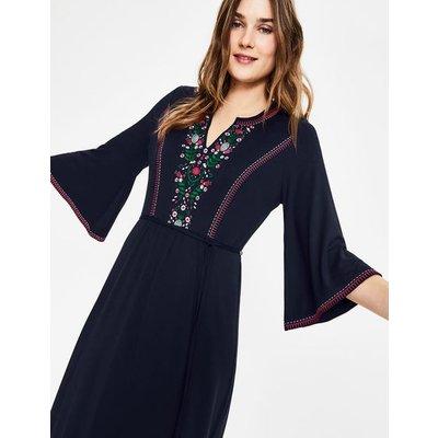 Remi Embroidered Midi Dress Navy Women Boden, Navy