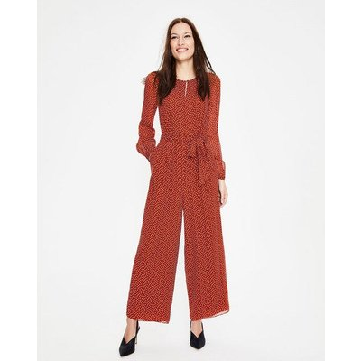 Hermione Silk Jumpsuit Brown Women Boden, Brown