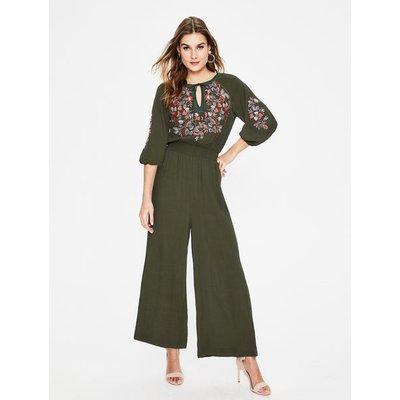 Natalie Embroidered Jumpsuit Khaki Women Boden, Khaki