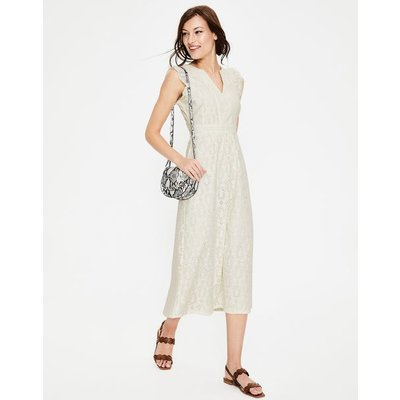 Hallie Broderie Midi Dress Ivory Women Boden, Ivory