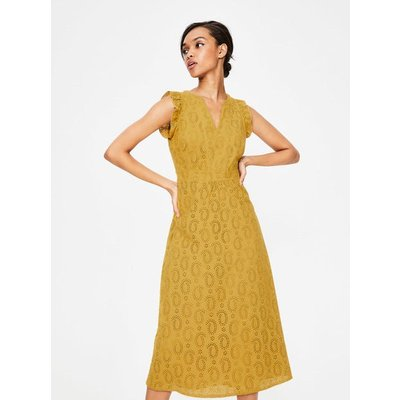 Hallie Broderie Midi Dress Yellow Women Boden, Yellow