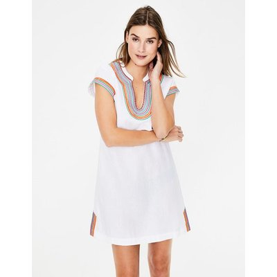Yasmin Embroidered Linen Tunic White Women Boden, White