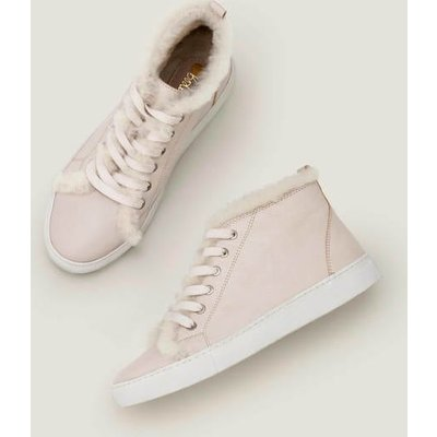 Shearling High Top Trainers Ivory Women Boden, Beige