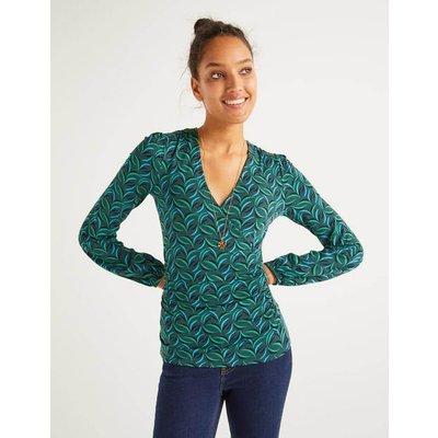 Elodie Jersey Wrap Top Green Women Boden, Green