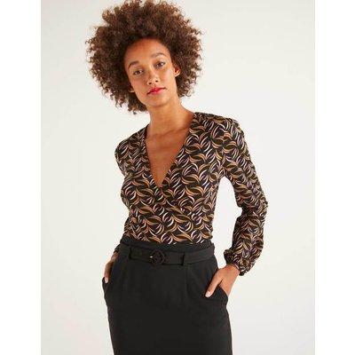 Elodie Jersey Wrap Top Black Women Boden, Black