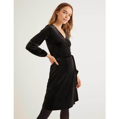 Ellie Velvet Wrap Dress Black Women Boden, Black