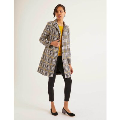 Hengrave Tweed Coat Yellow Women Boden, yellow