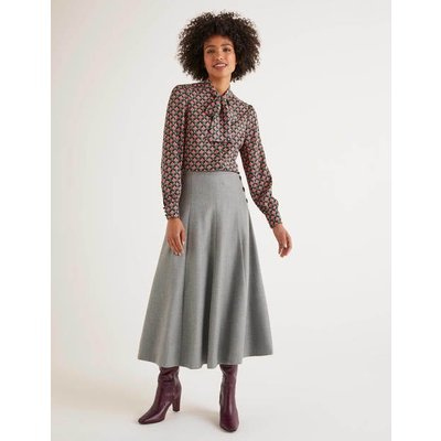 Esme British Tweed Midi Skirt Grey Women Boden, Grey