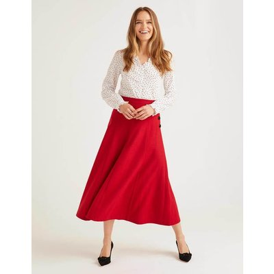 Esme British Tweed Midi Skirt Red Women Boden, Navy