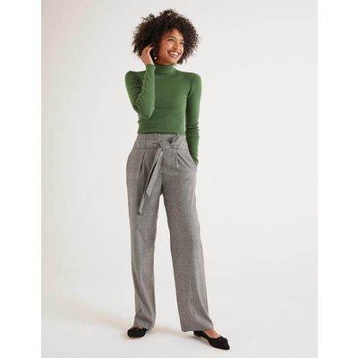 Tweed Tie Waist Trousers Black Women Boden, Black