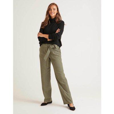 Tweed Tie Waist Trousers Green Women Boden, Green