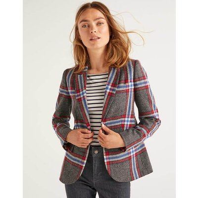 Smyth British Tweed Blazer Grey Women Boden, Blue