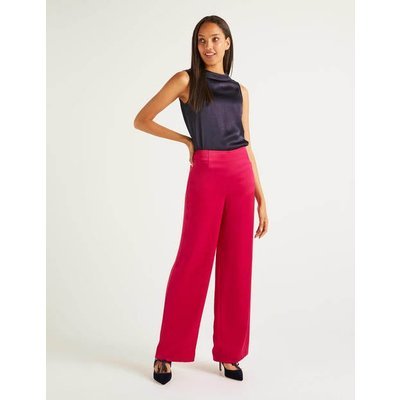 Amney Satin Wide Leg Trousers Pink Women Boden, Pink