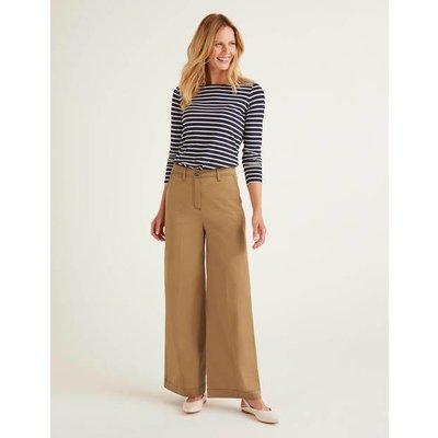 Attingham Wide Leg Trousers Brown Women Boden, Camel