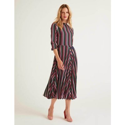 Camille Pleated Dress Pink Women Boden, Brown