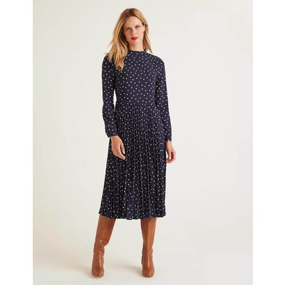 Camille Pleated Dress Navy Women Boden, Navy