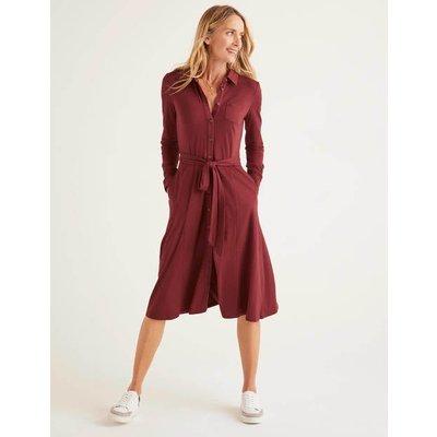 Susannah Jersey Shirt Dress Brown Women Boden, Brown