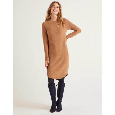 Leonora Textured Dress Camel Melange Women Boden, Camel Melange