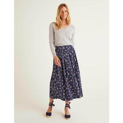 Theodora Pleated Skirt Navy Women Boden, Navy