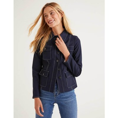Wheatley Topstitch Jacket Navy Women Boden, Navy