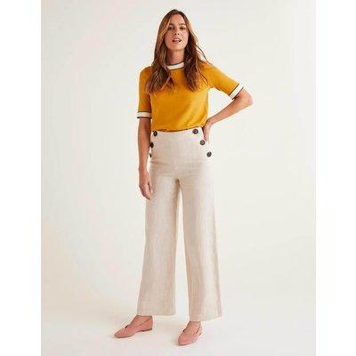 Imogen Linen Trousers Ivory Women Boden, Beige