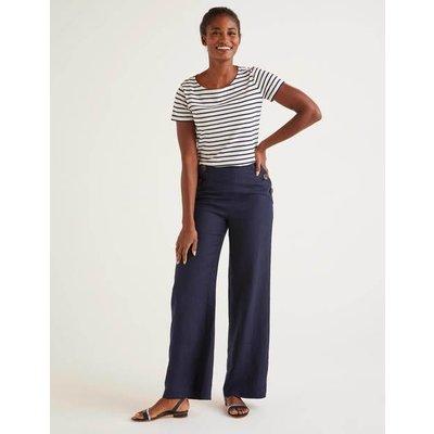 Imogen Linen Trousers Navy Women Boden, Navy