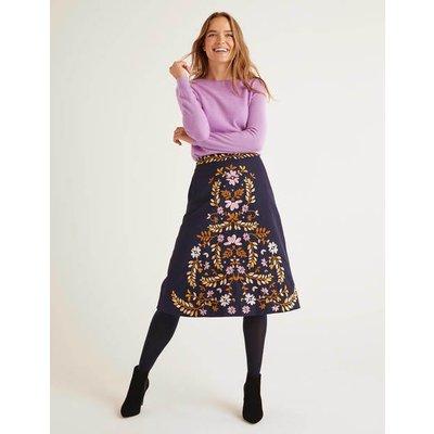 Eyre Embroidered Skirt Navy Women Boden, Navy