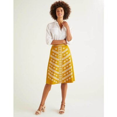Eyre Embroidered Skirt Yellow Women Boden, yellow